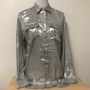 Lauren Ralph Lauren Silver Shimmer Button Blouse